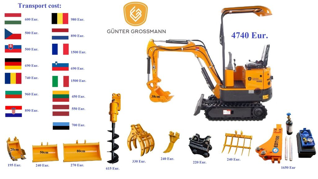 naujas mini ekskavatorius Günter Grossmann www.gg800.eu GG800 Minikoparka
