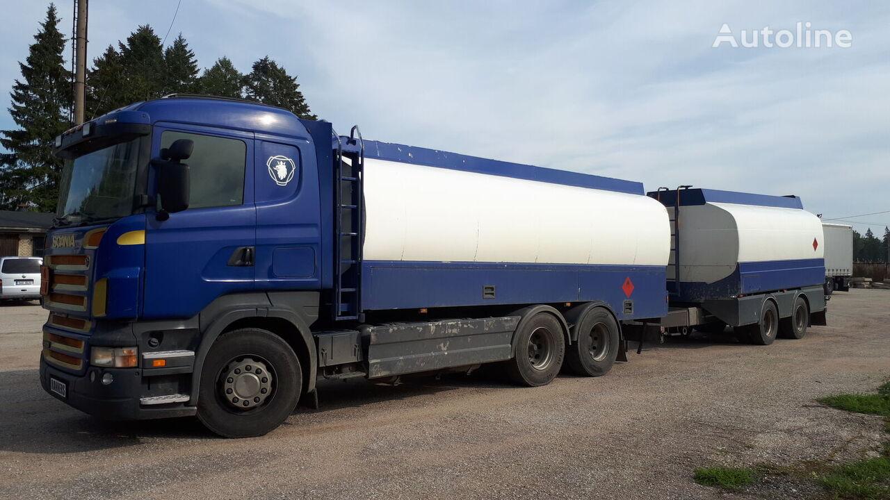 benzovežis sunkvežimis SCANIA R420 6x2 fuel tank + trailer + naftos produktų cisterna