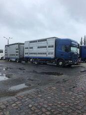 gyvulių pervežimo sunkvežimis SCANIA 124-420 + priekaba gyvuliams vezti