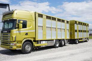 gyvulių pervežimo sunkvežimis SCANIA R164 V8 , 6x2 , 2 hydraulic decks , 70m2 , live stock + priekaba gyvuliams vezti