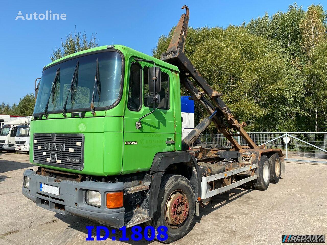 sunkvežimis su keliamuoju kabliu MAN 26.342 Hook tipper - 6x4 - 5cyl - Manual pump
