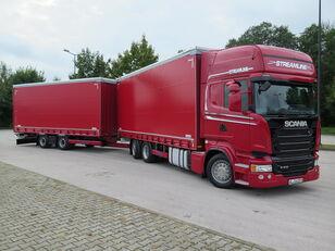 tentinis sunkvežimis SCANIA R410 TOP LINE + KRONE, ZESTAW 120 M3 + tentinė priekaba