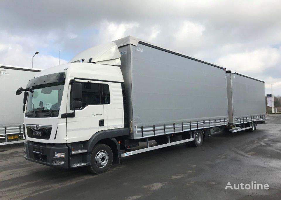 naujas užuolaidinis sunkvežimis MAN TGL 12.250 4X2 BL + užuolaidinė priekaba