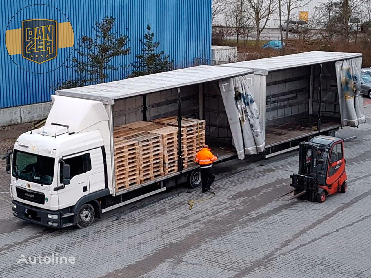 užuolaidinis sunkvežimis MAN TGL 8.220 + užuolaidinė priekaba